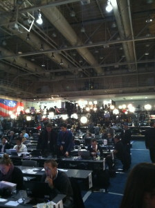 The Media Room in the Des Moines Event Center for the Iowa Caucuses